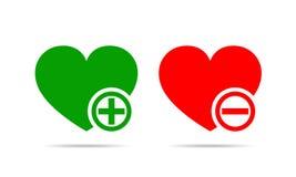 Coeurs avec plus et sans des marques Illustration de vecteur Image stock