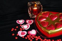 Coeurs bougie et sucrerie de Valentine Photo stock