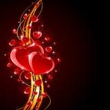 Coeurs brillants avec les lignes d'or Images stock