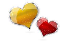 Coeurs brillants rouges et d'or de vecteur Photo stock