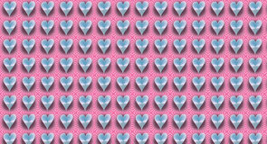 Coeurs brillants sur des rayures d'une sucrerie de rose Image libre de droits