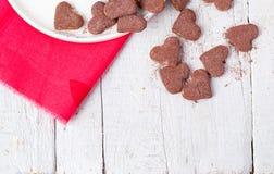 Coeurs chauds de cacao et de biscuits Foyer sélectif Photo libre de droits