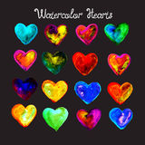 Coeurs colorés d'aquarelle réglés Photo stock