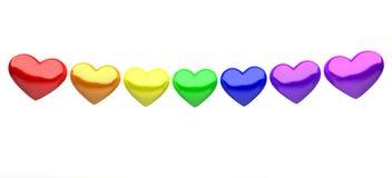 Coeurs colorés d'isolement sur le fond blanc Images libres de droits