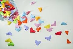 Coeurs colorés d'origami Image libre de droits