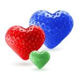 Coeurs colorés de fraise Image libre de droits