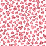 Coeurs colorés de griffonnage sur le fond blanc photographie stock libre de droits