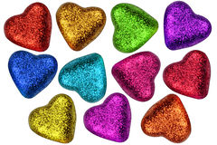 Coeurs colorés de jour de Valentines Photographie stock libre de droits