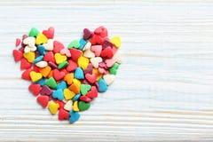 Coeurs colorés de sucrerie Images stock