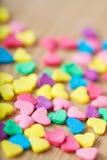 Coeurs colorés doux de sucrerie Photo libre de droits
