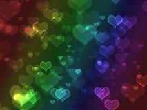 coeurs colorés lumineux de bokeh Images libres de droits