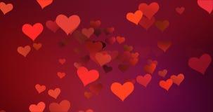 Coeurs colorés rouges volant avec le vortex le fond, l'amour et le Saint Valentin pourpres rouges de gradient Image stock