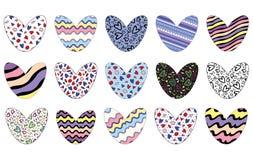 Coeurs décorés dans des modèles de varios avec la course editable d'isolement sur le fond blanc Illustration de vecteur illustration stock