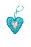 Coeurs décoratifs bleus de tissu pour le jour de valentines Image libre de droits