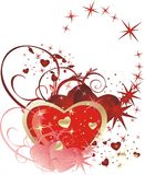 coeurs décoratifs de composition de carte Photo libre de droits