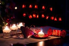 Coeurs, décorations et lumières de Noël, Joyeux Noël Images stock