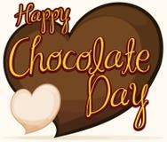 Coeurs délicieux de chocolat pour célébrer le jour de chocolat, illustration de vecteur Photos libres de droits