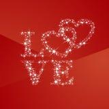 Coeurs d'amour complètement de fond de rouge d'étoiles Images stock