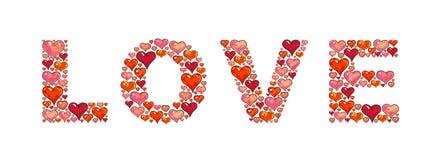 Coeurs d'amour d'inscription Coeurs sur un fond blanc Élément pour la conception Carte de travail manuel Photos libres de droits