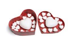 Coeurs d'amour dans le cadre de cadeau Photographie stock