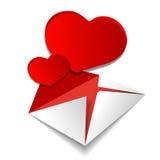 Coeurs d'amour de lettre Photographie stock