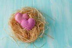Coeurs d'amour, jour de valentines Coeurs faits main Images libres de droits