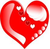 Coeurs d'amour pour la carte de jour de Valentines Images libres de droits