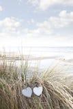 Coeurs d'amour sur des dunes de sable en été Image stock