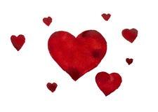 Coeurs d'aquarelle Photographie stock libre de droits