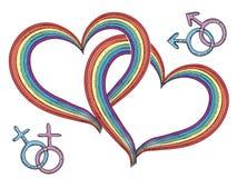 Coeurs d'arc-en-ciel avec des symboles homosexuels. Vecteur   Image libre de droits