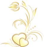 Coeurs d'or avec le brin décoratif illustration de vecteur