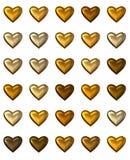 Coeurs d'or d'isolement sur le blanc. Image libre de droits