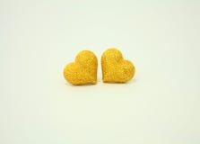 Coeurs d'or de couples sur le blanc Photo libre de droits