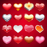 Coeurs d'icônes de vecteur réglés Image libre de droits