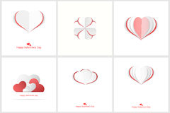 Coeurs d'Origami Cartes heureuses de jour de Valentines Photos stock