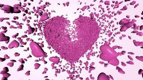 Coeurs 3D roses de milliers banque de vidéos