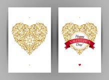 Coeurs d'or, salutations de jour du ` s de Valentine Photos libres de droits