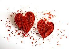 Coeurs d'un rouge ardent de /poivron Photos libres de droits