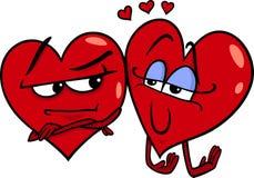 Coeurs dans l'illustration de bande dessinée d'amour Photo libre de droits