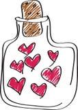 Coeurs dans la bouteille Images stock