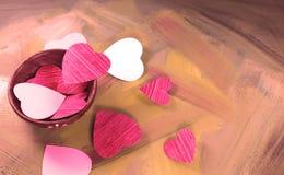 Coeurs dans la cuvette Photos stock