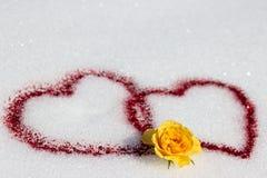 Coeurs dans la neige Images stock