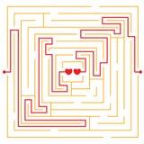 Coeurs dans le labyrinthe d'amour Photos stock
