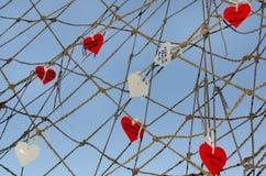 Coeurs dans le réseau Photos stock