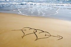 Coeurs dans le sable image libre de droits
