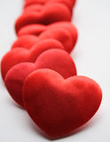 Coeurs dans une ligne Photos libres de droits