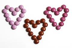 Coeurs de bonbons au chocolat Image libre de droits