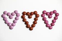 Coeurs de bonbons au chocolat Photo stock