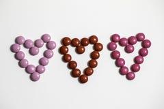 Coeurs de bonbons au chocolat Photo libre de droits