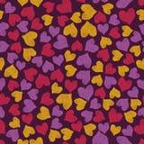 Coeurs de broderie de griffonnage de couleur sur le fond foncé photos libres de droits